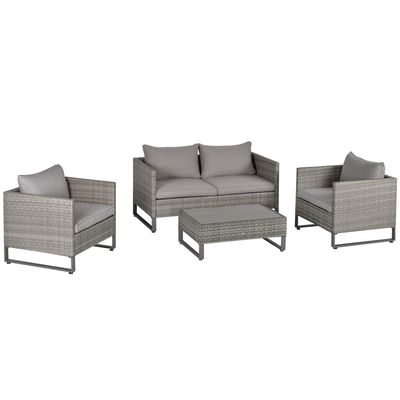 Outsunny 4 PCs PE Rattan Wicker Sofa Set Outdoor Conservatory Furniture Lawn Patio Coffee Table w/ Cushion, Grey