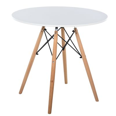 HOMCOM Dining Table Nordic Style Round 80cm Table White Desktop with Beech Leg
