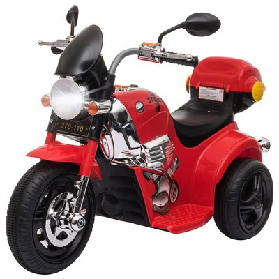 Aosom 6V Kid Electric Motorcycle Ride On Toy Battery Powered Motorbike For 3-6 Years Old With Storage Box Red