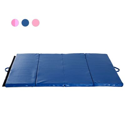 Soozier 3.8ftx5.9ftx2inch PU Leather Gymnastics Tumbling Mat Arts Folding Yoga Exercise Pad 4 Panel Blue