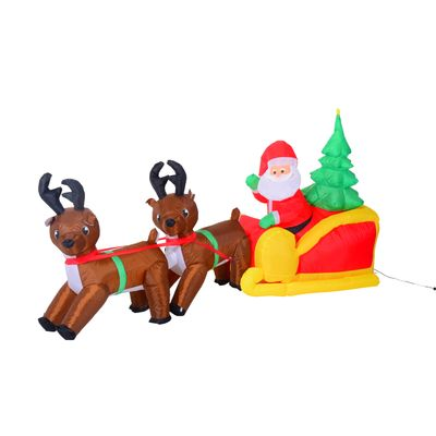 HOMCOM 3.8' Inflatable Christmas Santa in Sledge Reindeer LED Lighted Decoration