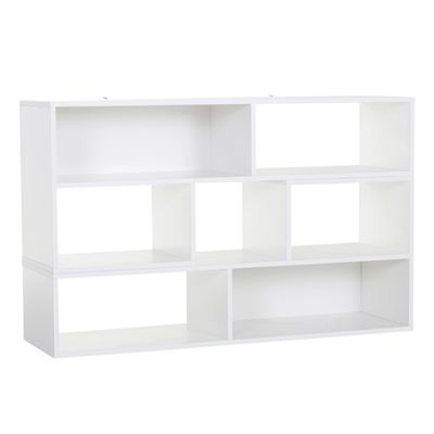 HOMCOM Versatile TV Console Stand Cabinet Wood Bookcase Storage Shelf Convertible Bookshelf White