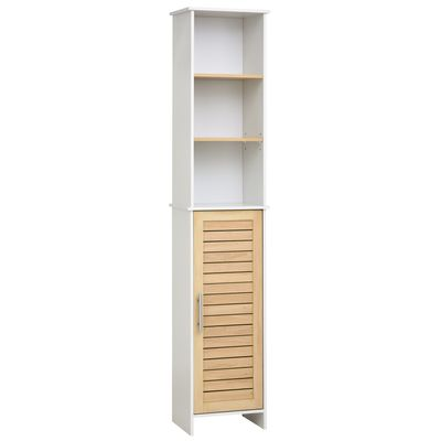 kleankin Organizer Bathroom Tall Storage Cabinet w/ Door Tower Open Shelves Freestanding