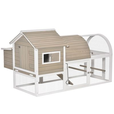 PawHut 66Inches Wooden Chicken Coop Outdoor Hen House Poultry Cage with Removable Tray Nesting Box, Grey
