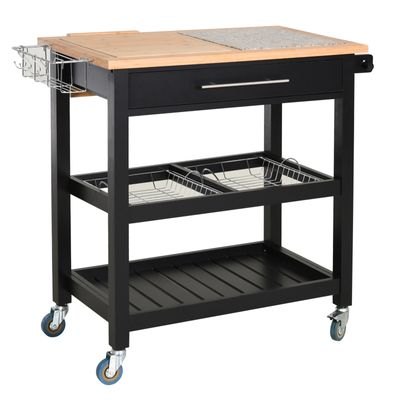 HOMCOM Kitchen Island with Granite Countertop Worktop on Wheels 2-Tier