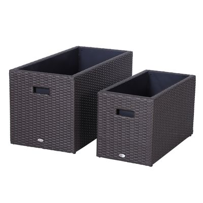 Outsunny 2 PCS Square Plastic Rattan Metal Flower Pot Indoor Outdoor Plants Box Seed