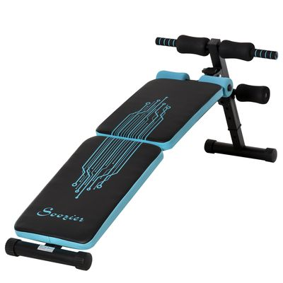 Soozier Multifunctional Foldable Sit Up Bench Adjustable Workout Exercise Bench Ideal for Home, Office, and Gym, Black