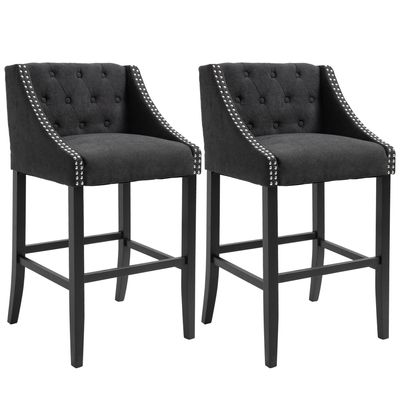 HOMCOM Set of 2 Height Bar Chairs Button Tufted Barstools for Kitchen w/ Nailhead Trim, Footrest, Upholstered Seat, Solid Wood Leg, Dark Grey
