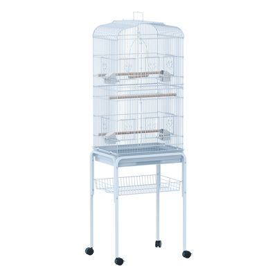 """PawHut 63"""" Bird Cage Macaw Cockatoo House Parrot Play Top Finch Pet Supply with Wheels White"""
