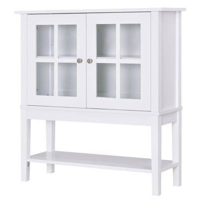 HOMCOM Modern Sideboard Buffet Cabinet Wood Console Table with Glass Doors Kitchen Dining Room Furniture White