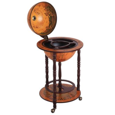 "HOMCOM Rolling 18"" Globe Wine Bar Stand Wine Cabinet Bottle Shelf Holder Wine Host Trolley with Wheels"