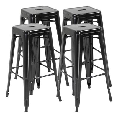 HOMCOM Set of 4 Bar Stools Kitchen Metal Steel Portable Stackable Seat 4pcs Black