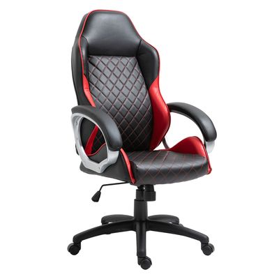 Vinsetto Office Chair Faux Leather Diamond Line High-Back Rocker Swivel Computer Desk Chair with Wheels  Red