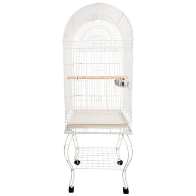 PawHut 60-inch Large Bird Parrot Cage Rolling Cockatiel Finch Macaw Aviary Cage with 2 Stainless Steel Cup Pet Furniture White