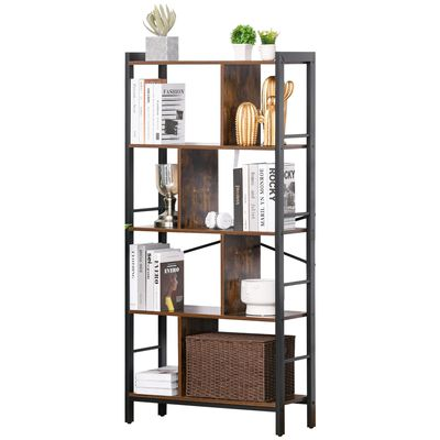 HOMCOM Industrial Bookshelf, Bookcase with 4-Tier Storage Rack furniture for Living Room Office