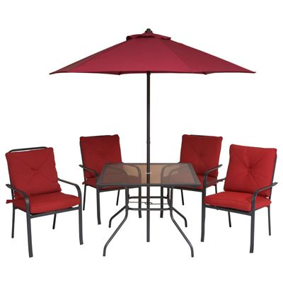 Outsunny 6pcs Sling Folding Dining Set Stacking Chairs Outdoor Furniture Red