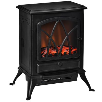HOMCOM Free Stand Electric Fireplace Stove Heater with Adjustable LED Flame Effect and Front Door, 750W/1500W, Black