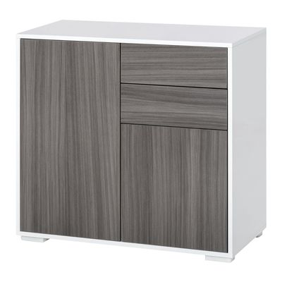 HOMCOM Push-Open Cabinet with 2 Drawer 2 Door Cabinet for Home Office Light Grey White