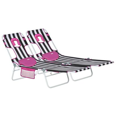 Outsunny 2-Piece Foldable Sun Lounger Reclining Chair with 5-Level Adjustable Back, Pillow, Reading Hole, Side Pocket