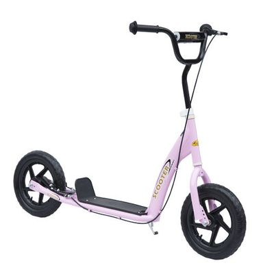 """HOMCOM Adjustable Kids Pro Stunt Scooter Children Street Bike Bicycle Ride On with 12"""" Tire Pink"""