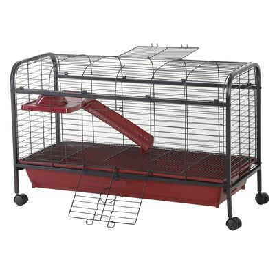 """PawHut 42"""" Rolling Pet Cage Set for Small Animals with Ramp & Feeder Rabbit Guinea Pig"""