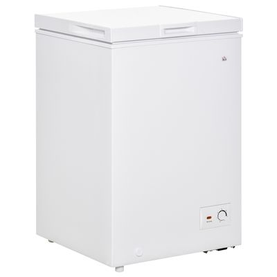 HOMCOM Compact Chest Freezer 3.5 Cubic Feet with Removable Basket Single Door 7 Temperature Setting Drain Hole for Apartment Kitchen Office Cabin White