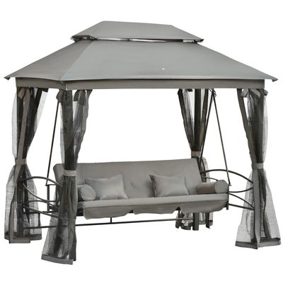 Outsunny 3 Person Outdoor Patio Daybed 3 in 1 Canopy Gazebo Swing Chair Garden Hammock with Mesh Mosquito Net and Sun Shade,Grey