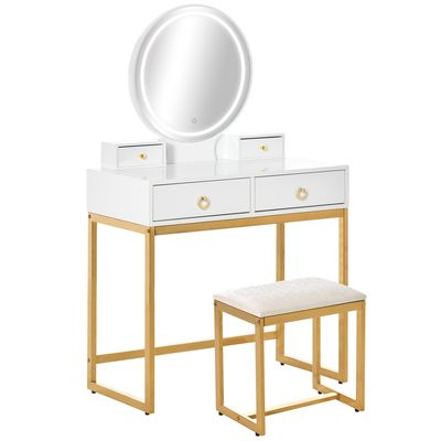 HOMCOM Makeup Vanity Table Set with 3-Color Touch Screen Dimmable Lighted Mirror, Dressing Desk with 4 Drawers and Cushioned Stool for Bedroom, White