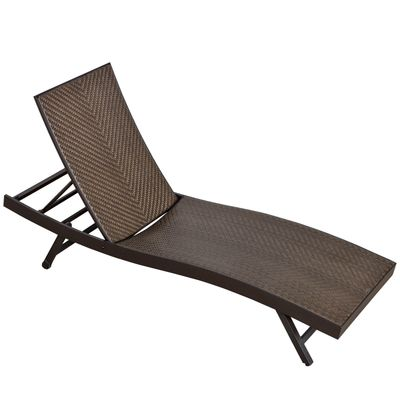 Outsunny Outdoor Rattan Wicker Sun Lounger Recliner Chair Garden Chaise Lounge with 3-Level Adjustable Backrest,  2 Wheels, Coffee