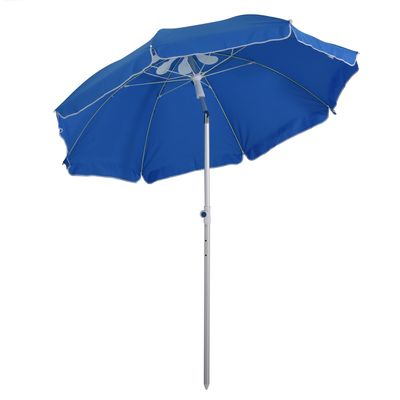 Outsunny Arc. 6ft Beach Umbrella with Pointed Design Adjustable Tilt Carry Bag for Outdoor Patio Blue