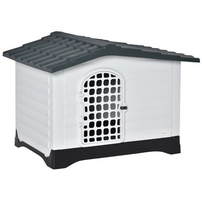PawHut Plastic Dog Kennel House Puppy Indoor & Outdoor Pet Shelter with Raised Base Window Door for Medium Sized Dogs Grey and White
