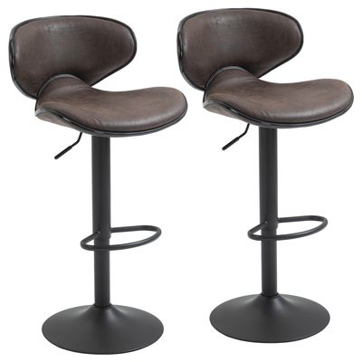 HOMCOM Vintage Bar Stool Set of 2 Faux Leather Adjustable Height Armless Chairs with Swivel Seat, Dark Brown