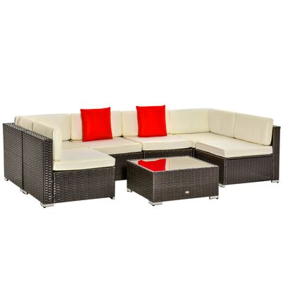 Outsunny 7-Piece Outdoor PE Wicker Patio Sofa Sets, Modern Rattan Conversation Furniture Set with Cushions & Table, Cream White