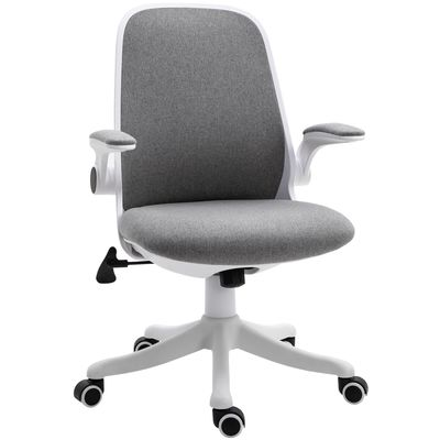 Vinsetto 360° Swivel Task Desk Office Chair Breathable Fabric Computer Chair with Flip-up Arms and Adjustable Height, Grey