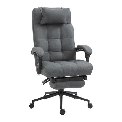 Vinsetto Executive Linen-Feel Fabric Office Chair High Back Swivel Task Chair with Upholstered Retractable Footrest, Headrest and Padded Armrest, Dark Grey