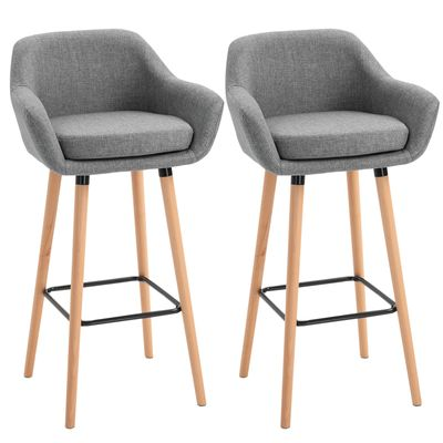 HOMCOM Modern Upholstered Fabric Seat Bar Stools Chairs Set of 2 with Metal Frame, Solid Wood Legs Living Room Dining Room Furniture Grey