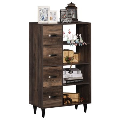 HOMCOM Retro 4-Drawer Dresser Storage Cabinet with 4-Tier Shelves for Living Room & Bedroom