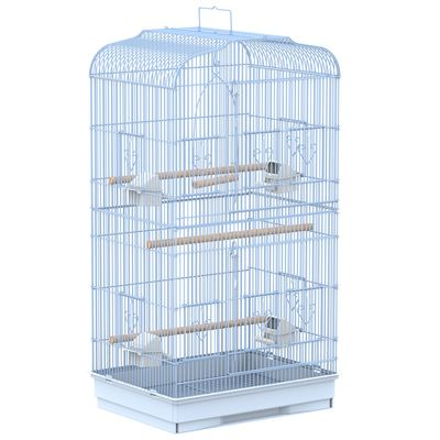 "PawHut 36"" Bird Cage Macaw Finch Play House Cockatoo Parrot Flight Cage with 2 Doors and 4 Feeders"