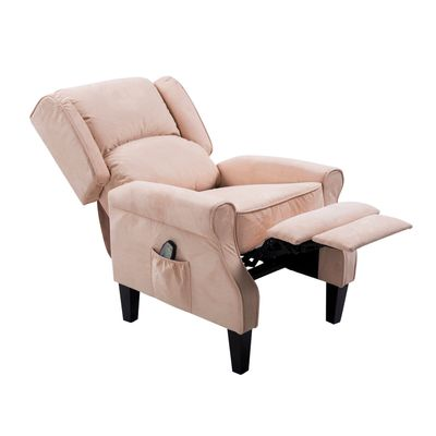 HOMCOM Heated Vibrating Suede Massage Recliner Sofa Chair Body Lounge w/Remote Beige