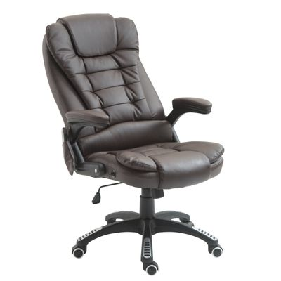 HOMCOM Heated Ergonomic Massage Office Chair Swivel High Back Leather Executive Adjustable Vibrating Chair, Brown