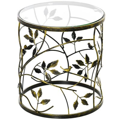 HOMCOM Tempered Glass Coffee Table Accent Side End Table with Vintage Style, Steel Frame for Living Room, Bedroom, Study, No Assembly Required, Bronze