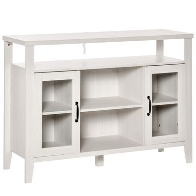 HOMCOM Rustic Style Sideboard Serving Buffet Storage Cabinet Cupboard with Glass Doors and Adjustable Shelves for Kitchen & Dining Area, White