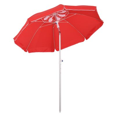 Outsunny Arc. 6ft Beach Umbrella with Pointed Design Adjustable Tilt Carry Bag for Outdoor Patio Red