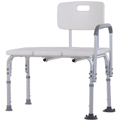 HOMCOM 6-Level Adjustable Aluminum Bath Stool Shower Bench w/ Non-Slip Feet  Armrest