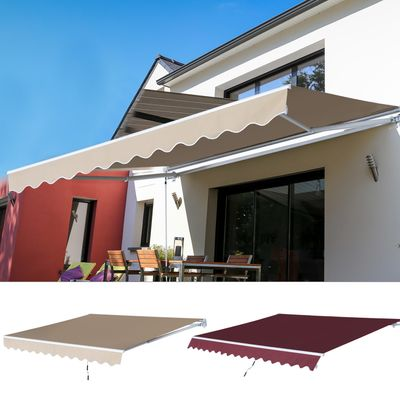 Outsunny 12x8.2ft Manual Retractable Patio Awning Water-Resistant Sun Shade Outdoor Deck Window Door Canopy Shelter