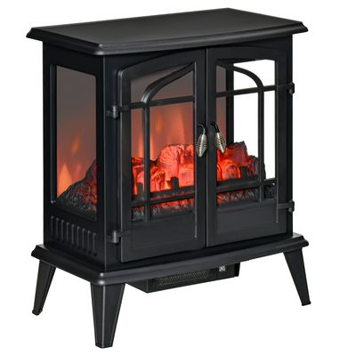 HOMCOM Electric Fireplace Stove, Freestanding Indoor Heater with Realistic Flame Effect, Adjustable Temperature and Overheat Protection, Black