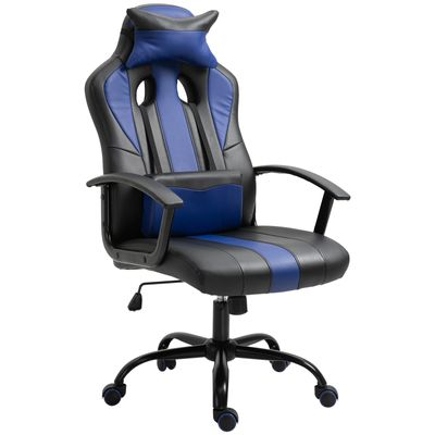 Vinsetto High Back Racing Style PU Leather Gaming Chair Lumbar Support Blue