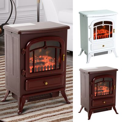 HOMCOM Adjustable Electric Fireplace Freestanding Stove with Heater Wood Burning Flame 750W/1500W Portable