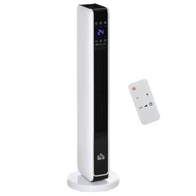 HOMCOM Ceramic Tower Heater, Oscillating Space Heater with Remote Control, Timer, Tip-Over & Overheat Protect, 750W/1500W