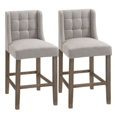 HOMCOM Modern Counter Bar Stools Tufted Upholstered Counter Chairs Set of 2 for Kitchen, Beige